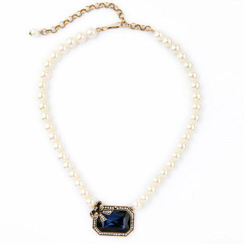 Trendy Gorgeous Faux Pearl Rhinestone Bowknot Necklace For Women