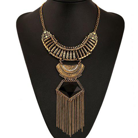 Store Ethnic Artificial Gem Chain Tassel Necklace BLACK/GOLDEN