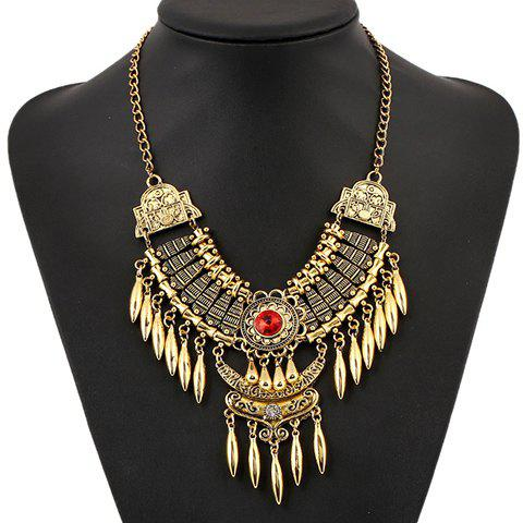 Cheap Retro Artificial Gem Oval Necklace GOLD/RED