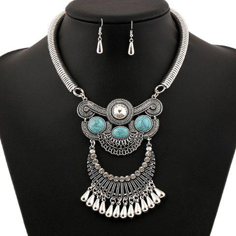 Online A Suit of Ethnic Artificial Gem Water Drop Necklace and Earrings
