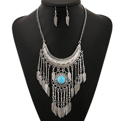 Discount A Suit of Ethnic Artificial Gem Moon Leaf Necklace and Earrings