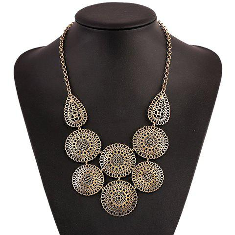 Affordable Retro Round Hollow Out Necklace COPPER COLOR