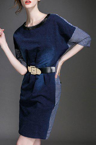 Store Stunning Round Neck 3/4 Sleeve Belted Dress For Women