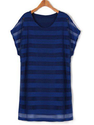 Hot Plus Size Striped Layered Tee Casual Dress