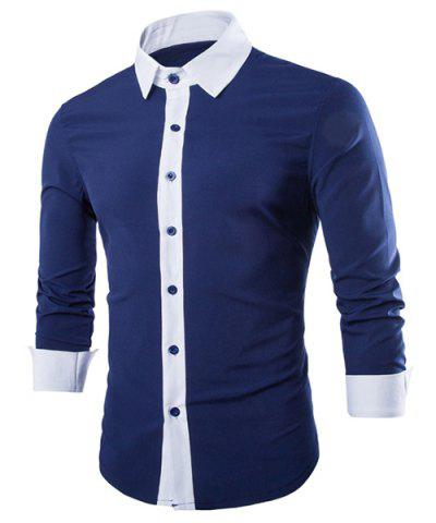 Cheap Simple Shirt Collar Color Block Button Fly Slimming Men's Long Sleeves Shirt