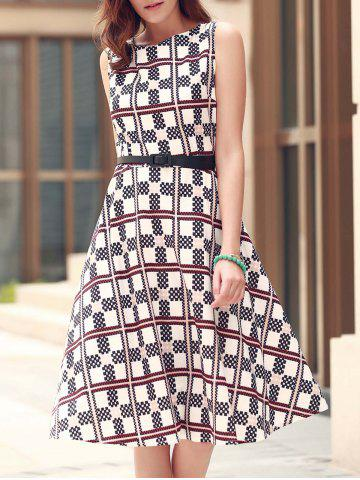 Fancy Sleeveless Plaid Fit and Flare Dress