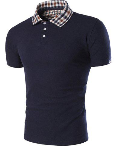 Hot Color Block Plaid Spliced Turn-down Collar Shorts Sleeves Polo T-Shirt For Men CADETBLUE L