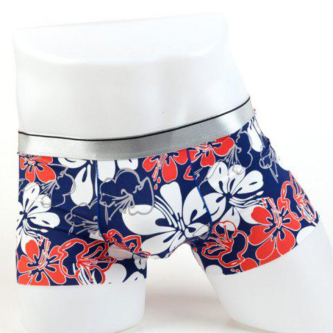 Shops Elastic Waist Flowers Pattern Comfortable Boxer Brief For Men