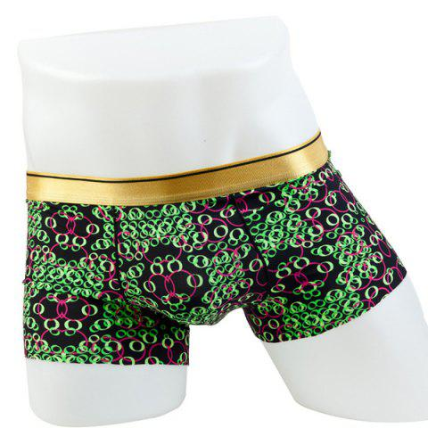 Fashion Elastic Waist Circle Pattern Comfortable Boxer Brief For Men