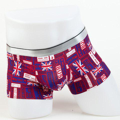 Fancy Elastic Waist Letters and Union Jack Pattern Comfortable Boxer Brief For Men