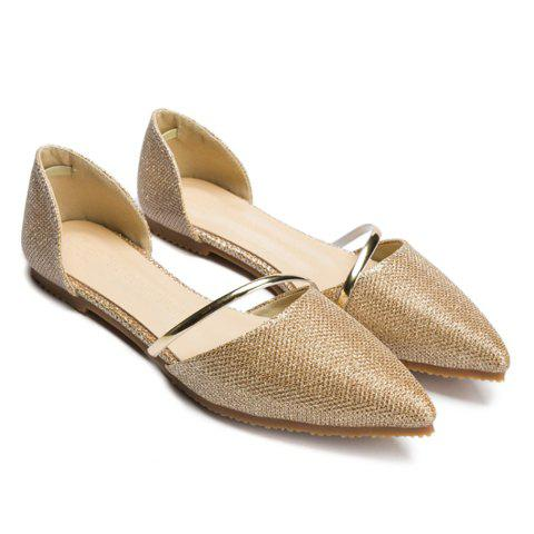 Online Trendy Solid Colour and Sequined Cloth Design Flat Shoes For Women