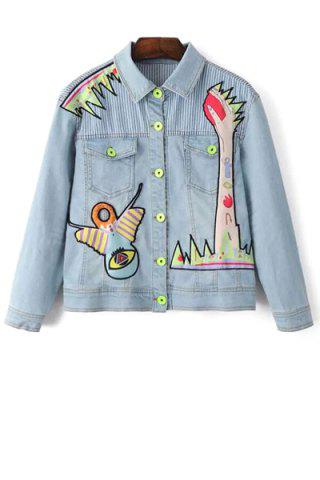 Store Stylish Shirt Collar Long Sleeve Denim Embroidery Jacket For Women