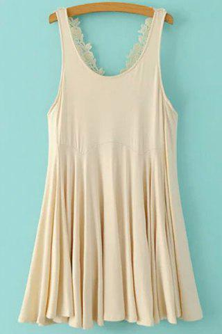 Fashion Casual Sleeveless Lace Crisscross Back Women's Flippy Dress