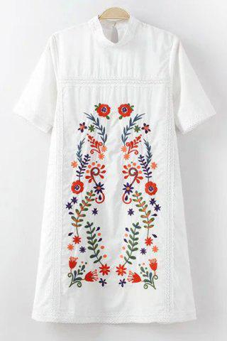 Store Stylish Mock Neck Short Sleeve Embroidery Dress For Women