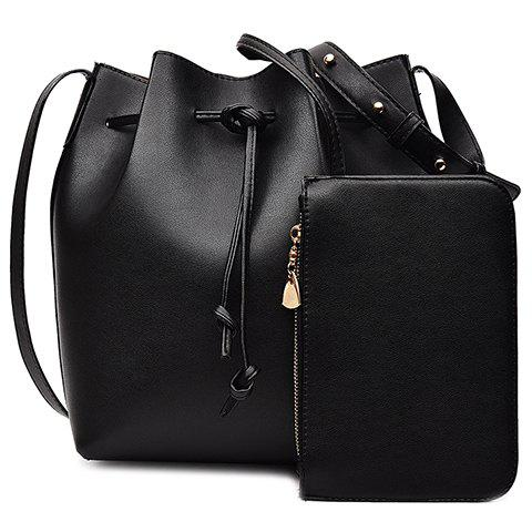 Chic Leisure Solid Color and String Design Crossbody Bag For Women BLACK