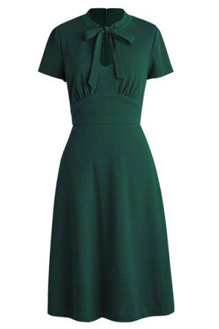 Latest Bow Tie Neck Fit and Flare Dress