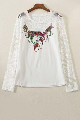 Stylish Round Collar Long Sleeve Lace Spliced Printed T-Shirt For Women