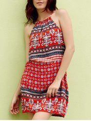Ethnic Style Jewel Neck Sleeveless Printed Cut Out Dress For Women - RED