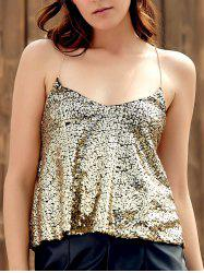 Sparkly Sequins Tank Top For Party - GOLDEN S