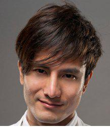Stylish Dark Brown Short Synthetic Fluffy Straight Side Bang Capless Wig For Men -