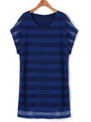 Plus Size Striped Layered Tee Casual Dress -