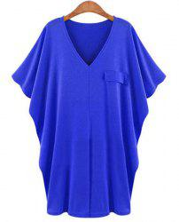 Casual Solid Color V-Neck Batwing Sleeve T-Shirt Dress For Women - BLUE XL