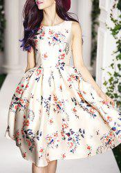 Vintage Round Collar Floral Print Sleeveless Dress For Women -