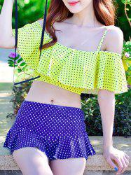 Flounce Polka Dot Skirted Tankini Swimwear