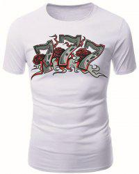 Round Neck Numbers Flowers Pattern Short Sleeve Men's T-Shirt - WHITE M
