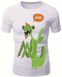 Round Neck 3D Cartoon Mantis Pattern Short Sleeve Men's T-Shirt -