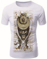 Round Neck 3D Skull Guns Pattern Short Sleeve Men's T-Shirt