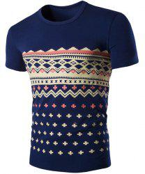 Fashion Round Neck Geometric Print Short Sleeves Slimming T-Shirt For Men
