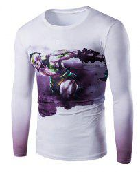 Vogue Slimming Round Neck 3D Beefcake Print Long Sleeves Ombre T-Shirt For Men -