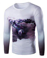 Vogue Slimming Round Neck 3D Beefcake Print Long Sleeves Ombre T-Shirt For Men