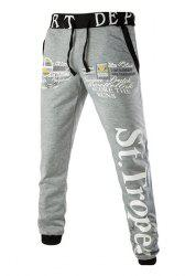 Loose Fit Letters Print Color Spliced Lace-Up Jogger Pants For Men -