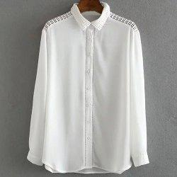 Fashionable Shirt Collar Long Sleeve Pure Color Mesh Splicing Women's Shirt - WHITE M