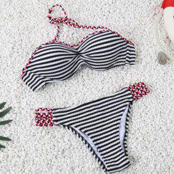 Charming Halter Striped Navy Style Two-Piece Bikini For Women -