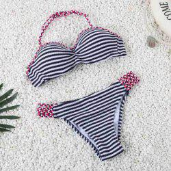 Charming Halter Striped Navy Style Two-Piece Bikini For Women
