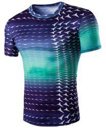 Round Neck Gradient Color Short Sleeve Men's T-Shirt