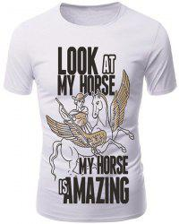 3D Cartoon Pegasus Print Character T-Shirt - WHITE