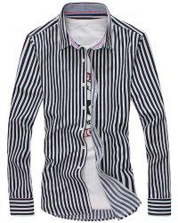 Vertical Stripe Turn-Down Collar Long Sleeve Shirt For Men -