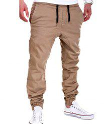 Beam Feet Low Crotch Design Drawstring Men's Pants - KHAKI