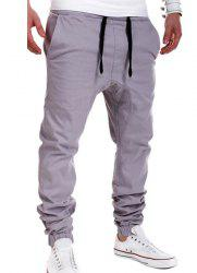 Beam Feet Low Crotch Design Drawstring Men's Pants - GRAY