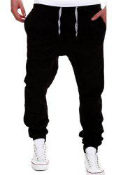Beam Feet Low Crotch Design Drawstring Men's Pants - BLACK