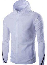 Hooded Color Block Spliced Long Sleeve Zip Up Men's Jacket -