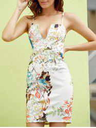 Sexy Spaghetti Strap Sleeveless Floral Print Low-Cut Sheathy Dress For Women -