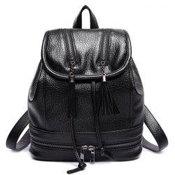 Leisure Tassels and Zips Design Satchel For Women - BLACK