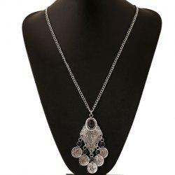 Ethnic Artificial Gem Coin Necklace