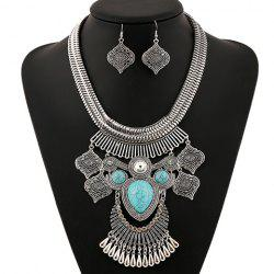 A Suit of Retro Artificial Gem Rhinestone Water Drop Necklace and Earrings