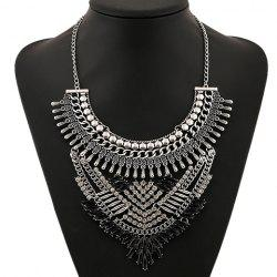Retro Artificial Gem Rhinestone Oval Necklace - SILVER